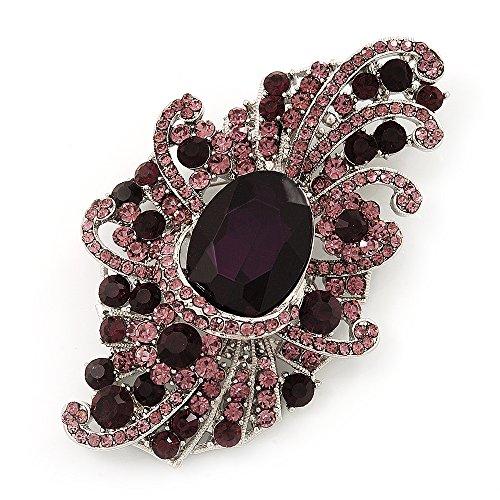 (Avalaya Large Victorian Style Deep Purple/Amethyst Crystal Brooch in Silver Plating - 10cm Length)