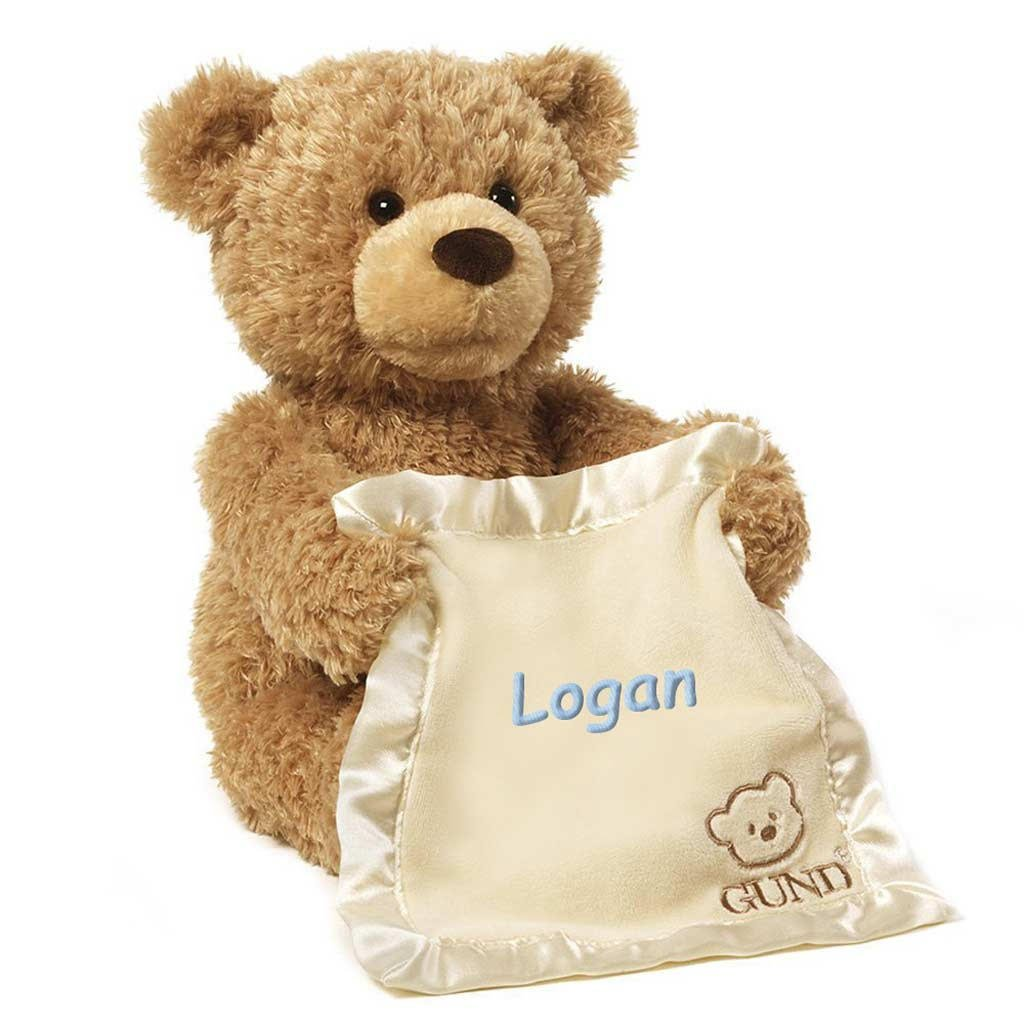 Personalized Peek A Boo Plush Toy (Brown Peek A Boo Bear) by DIBSIES Personalization Station
