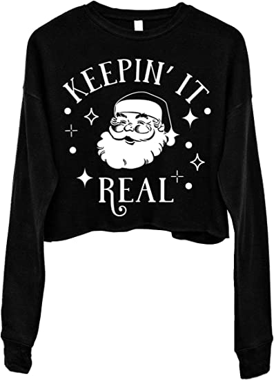 Keepin It Real Off The Shoulder Sweatshirt Ugly Christmas Sweater For Women Slouchy Oversized Sweater Funny Santa Christmas Sweater