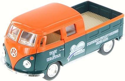 "5/"" Kinsmart VW 1963 Volkswagen Bus Double Cab Pickup Diecast Car 1:34 Red"