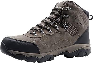 KECLOUD أحذية المشي لمسافات طويلة للرجال مقاومة للماء، غير قابلة للانزلاق، جلد سويدي منتصف الكاحل الرحلات، للرياضات الخارجية