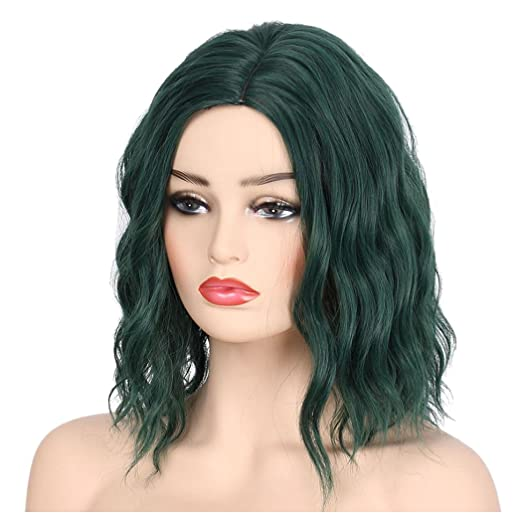Amazon.com  Inkach Wigs Short Curly Hair Wig for Black Womens - Ladies  Fluffy Heat Resistant Synthetic Cosplay Wig (Green Wigs)  Clothing 8beaa5cccb79