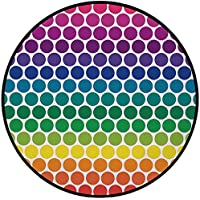 Printing Round Rug,Polka Dots,Illustration of Rainbow Colored Dots Big Circles Spots Kids Nursery Theme Print Mat Non-Slip Soft Entrance Mat Door Floor Rug Area Rug For Chair Living Room,Multicolor