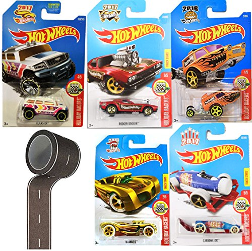 Hot Wheels Holiday Racers Exclusive Set 5-Pack Easter / Christmas / Halloween / New Years / Valentines + Bonus Road Tape Pack (Los Simpsons Halloween 2017)