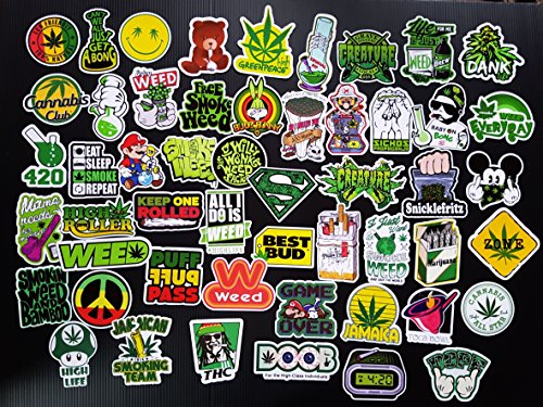 Price comparison product image Weed Ganja Marijuana Cannabis Pot Leaf Stickers Pack For Laptop Luggage Vinyl Vintage Sticker Graffiti Laptop Luggage Decals Stickers