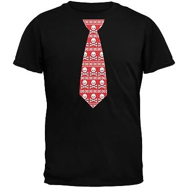 Cráneo y Crossbones Corbata roja Navidad Feo suéter Negro Camiseta ...