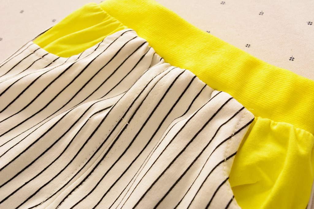 Cute Baby Boys Summer Pajamas Set | Toddler Boys Cartoon Vest Blue Tees Stripe Shorts Sets(Yellow,110) by Wesracia (Image #3)