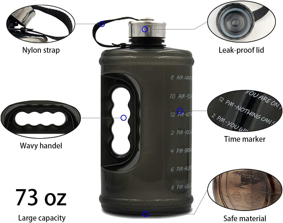 BPA Free Sports Water Jug with Times to Drink blue 64 oz Half gallon Motivational Water Bottle with Time Marker