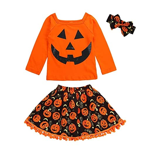 5e9088d98c Amazon.com: Toddler Baby Girls 3Pcs Clothes Sets for 12 Months-6T,Long  Sleeve Halloween Pumpkin Print T-Shirt Fringe Ball Skirt Outfits: Clothing