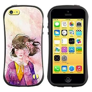 Suave TPU GEL Carcasa Funda Silicona Blando Estuche Caso de protección (para) Apple Iphone 5C / CECELL Phone case / / Wreath Watercolor Art Purple /