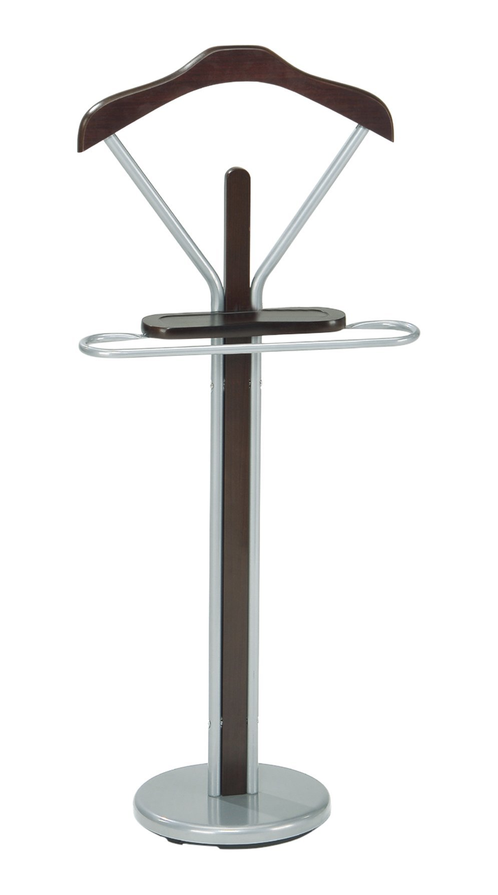 InRoom Designs CH-4089 Kings Brand Silver Finish Wood and Metal Suit Valet Rack Stand Organizer, Walnut by InRoom Designs (Image #4)