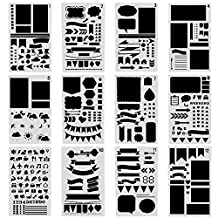 COCODE 12 Pcs Bullet Journal Stencil Set Plastic Planner Stencils for Journaling, Scrapbooking, Notebook, Card and Art DIY Projects