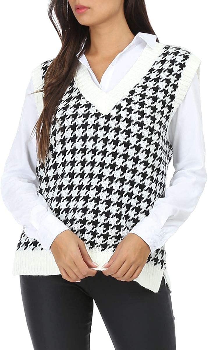 Jlihang Women Houndstooth Knitted Sweater Vest V Neck Casual Loose Oversized Vintage Pullover Tops (White) at  Women's Clothing store