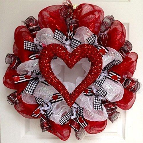 Amazon Com Valentines Day Glittering Heart Handmade Deco Mesh