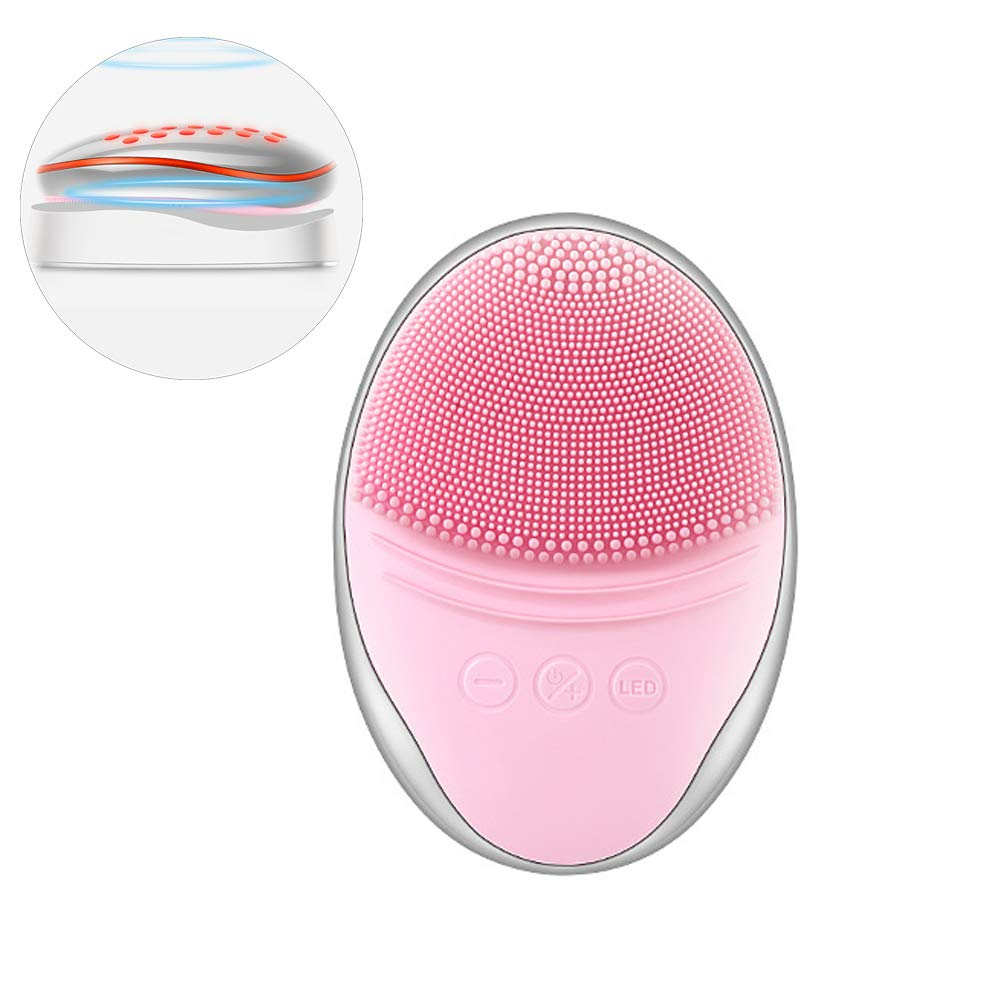 Face Cleansing Brushes Waterproof Electric Silicone Face Massager Brush Skin Cleanser and Deep Exfoliator Makeup Tool,Pink