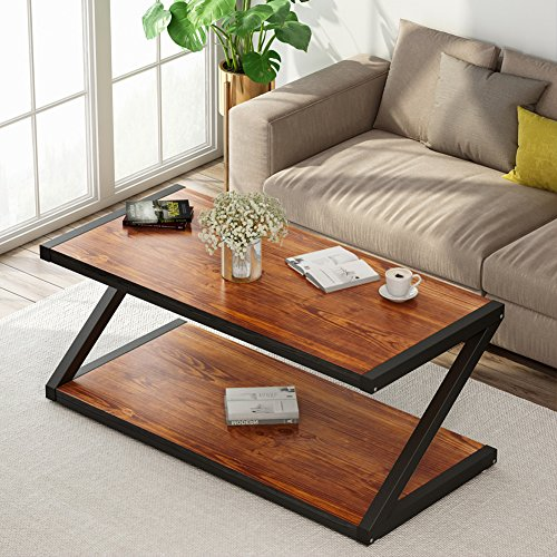 "Rustic Coffee Table, LITTLE TREE 48"" Large Rectangular Wood Center Table with Lower Storage Open Shelf and Thick Metal Z-Shaped Legs for Living Room or Bedroom, Cherry"