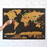 Scratch Map, Black With Golden Coating Scratch Off World Map, Bright Colours Deluxe Edition Travel World Map For Poster Home Decor. 32.5 x 23.6 Inches