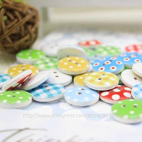 HDTTCX - Botones de madera para manualidades - Botones de madera para coser - 100 piezas de colores surtidos 15 mm lunares lunares rústico placa hecha a ...