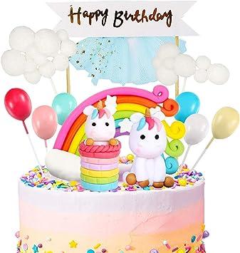 Gresunny Decorazione Torta Unicorno Happy Birthday Cake Topper Nuvola Arcobaleno Palloncino Decorazioni per Torte di Compleanno Topper per Torta Unicorno per Bambini Compleanno Battesimo Festa