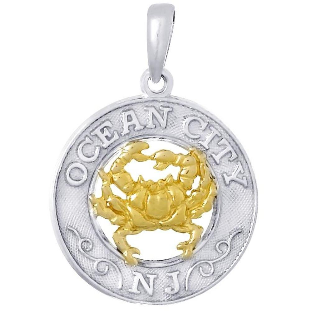 Ster Silver 14K Gold Ocean City & Crab Circle Pendant
