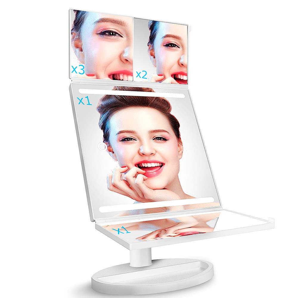 Tri-Fold LED Makeup Mirror with 360 Rotation, 3x 2x Magnification, 32 LEDs, Touching Dimmer and Dual Power Supply, as for Lighted Vanity Mirror and LED Cosmetic Mirror