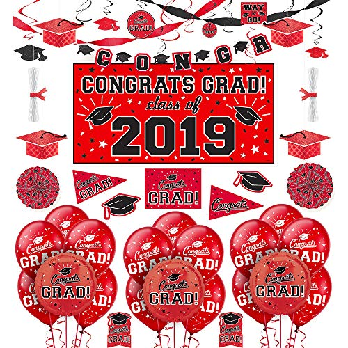 Party City Congrats Grad Red Graduation Deluxe Decorating Kit with Balloons, Includes a Banner, Lanterns, and Swirls