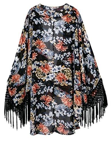 Adogirl Women's Light Loose Chiffon Kimono Cardigan