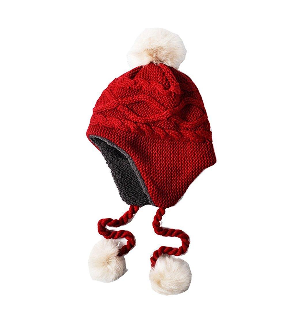 2017 New Knitting Boys Girls Warm Winter Fleece Earflaps Hat Beanie (2-10T)