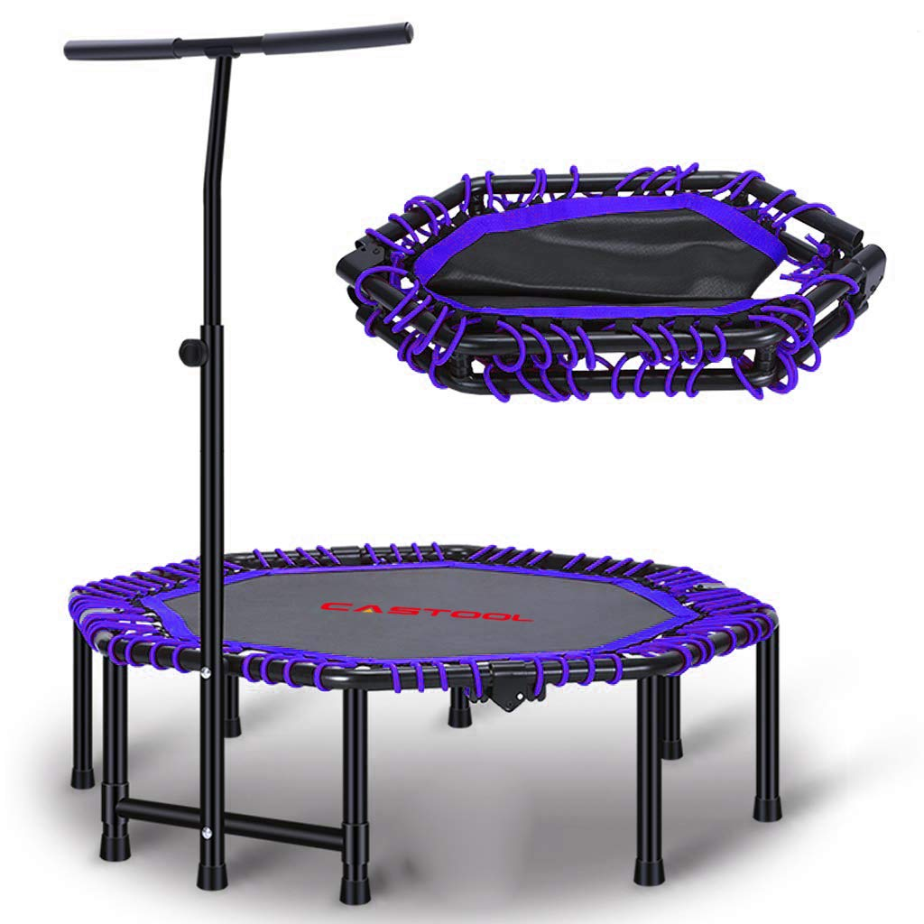 CASTOOL 48''Ultra Quiet Fitness Mini Octagon Foldable Trampoline with Adjustable Handle,Safe Elastic Band - Indoor Fitness/Home Workout Cardio Training for Adults (Blue)