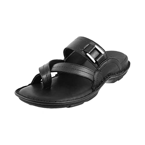 52d548b4b93 Metro Men Black Leather Sandals (16-8876) (16-8876-11-BLACK)  Buy Online at  Low Prices in India - Amazon.in