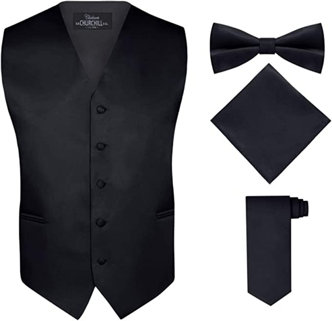 BLACK TIE SET COMBO 2 PIECE POCKET SQUARE HANKY FORMAL WEDDING WORK