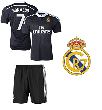Non-Branded CR7 Cristiano Ronaldo  7 REAL Black Madrid Kids Soccer Jersey  with shorts 4245129ef
