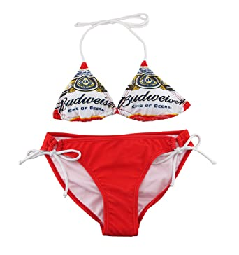 7061ee7858 Amazon.com: Red And White Budweiser Beer Label Print Triangle String Bikini:  Clothing