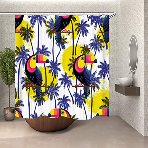 SARA NELL Bathroom Shower Curtain Botanical Hawaii Hawaiian Pattern with Toucan Shower Curtains Fabric Shower Room Curtain Durable Waterproof Home Bath Curtain Sets with 12 -