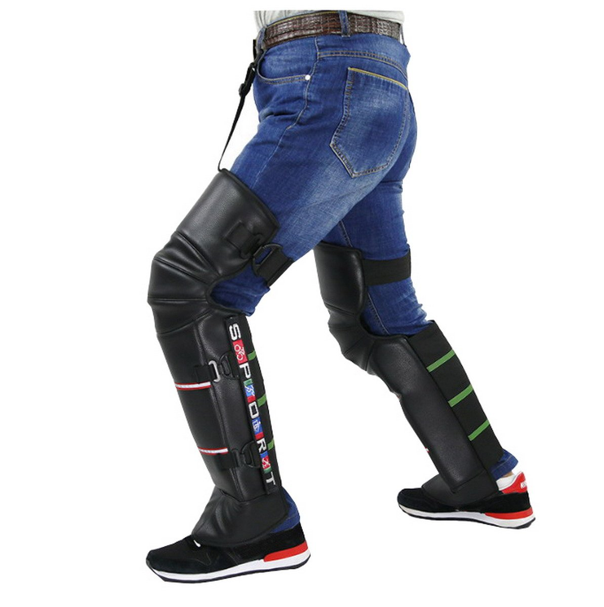 Mecoco Unisex Black Leather Warm Knee Pad Leg Warmer Protector Motorcycle Knee Protector Protective Half Chaps Leggings Covers Adjustable Strap Windproof for Winter Wind Snow Bike Motorcycle Rider
