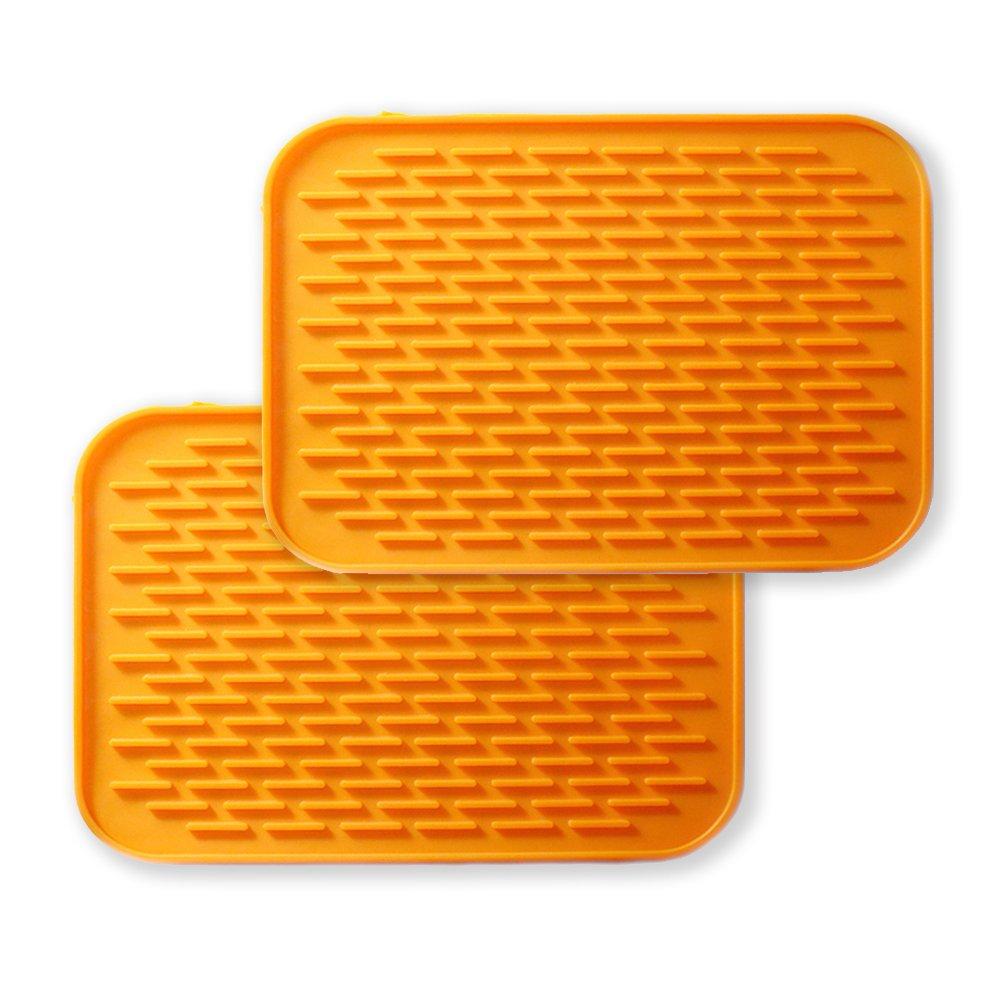 Premium Silicone Pot Holders,Trivets,Jar Openers,Spoon Rest-Heat Resistant-2 Set (Orange)