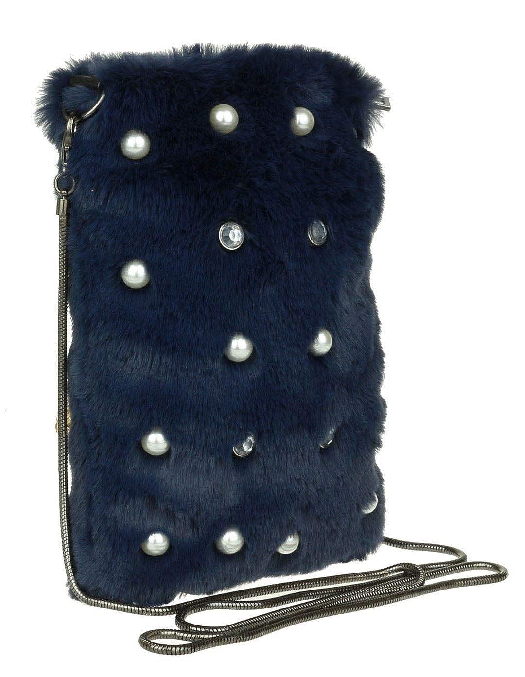 Girly Handbags Perles fourrure Sacs /à main Pochette