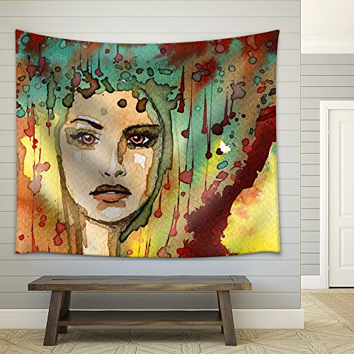 Illustration Depicting a Figure of a Young and Beautiful Woman Fabric Wall Tapestry