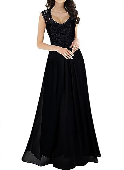Sekitoba Japanc Sleeveless Floral Lace Maxi Dress For Women Black