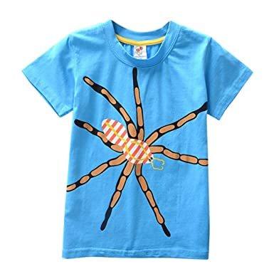 e7020c5c Lazzboy Toddler Kids Baby Boys Girls Short Sleeve Cartoon Print Tops T-Shirt:  Amazon.co.uk: Clothing