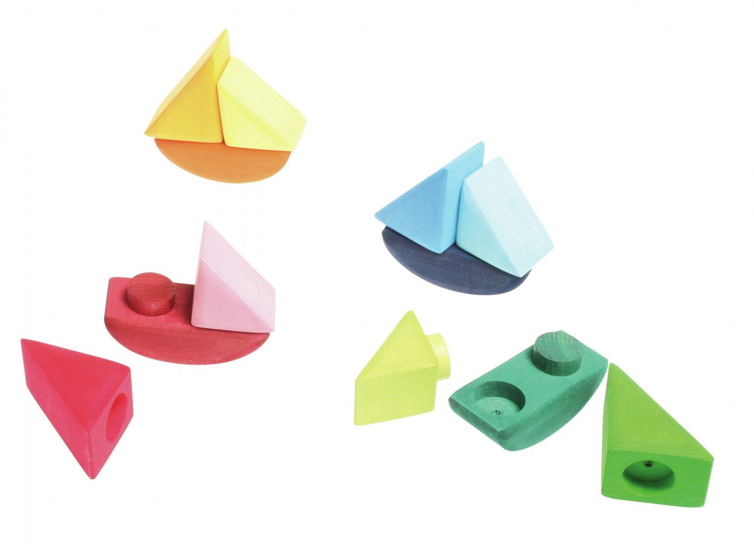 12 Blocks//Pieces to Stack and Combine Grimms Set of 4 Wooden Rainbow-Colored Rolling Boats