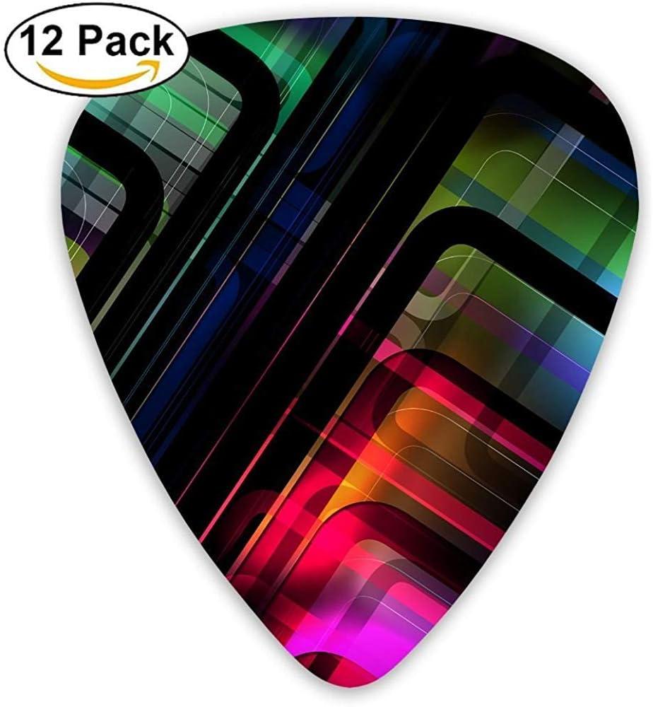Paquete de 12 Elecciones de guitarra eléctrica clásica de moda Plectrums Instrumento de patrón de color de fantasía Guitarrista bajo estándar