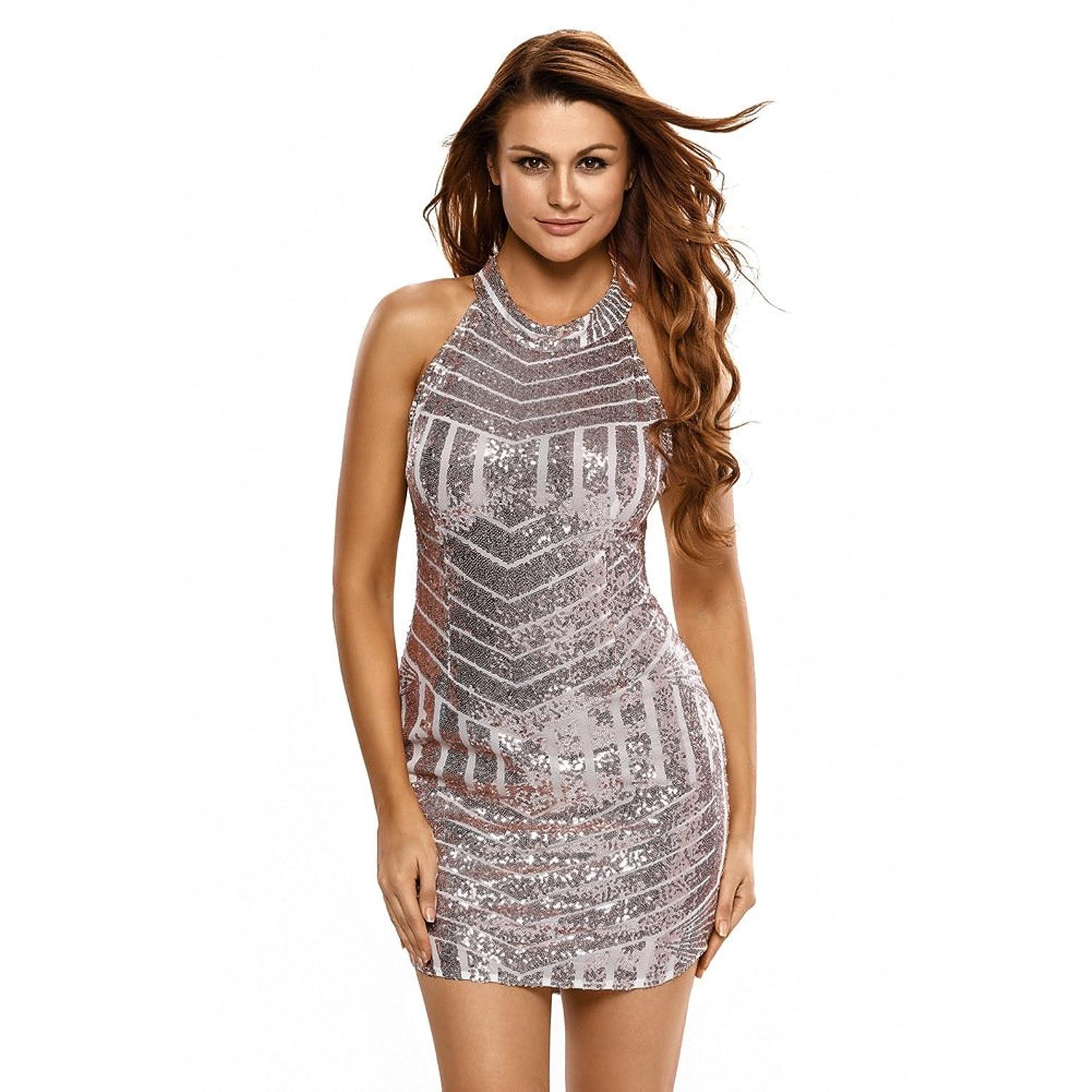 AIWEIYi Womens Summer Night Club Sparkling Sequined Dress