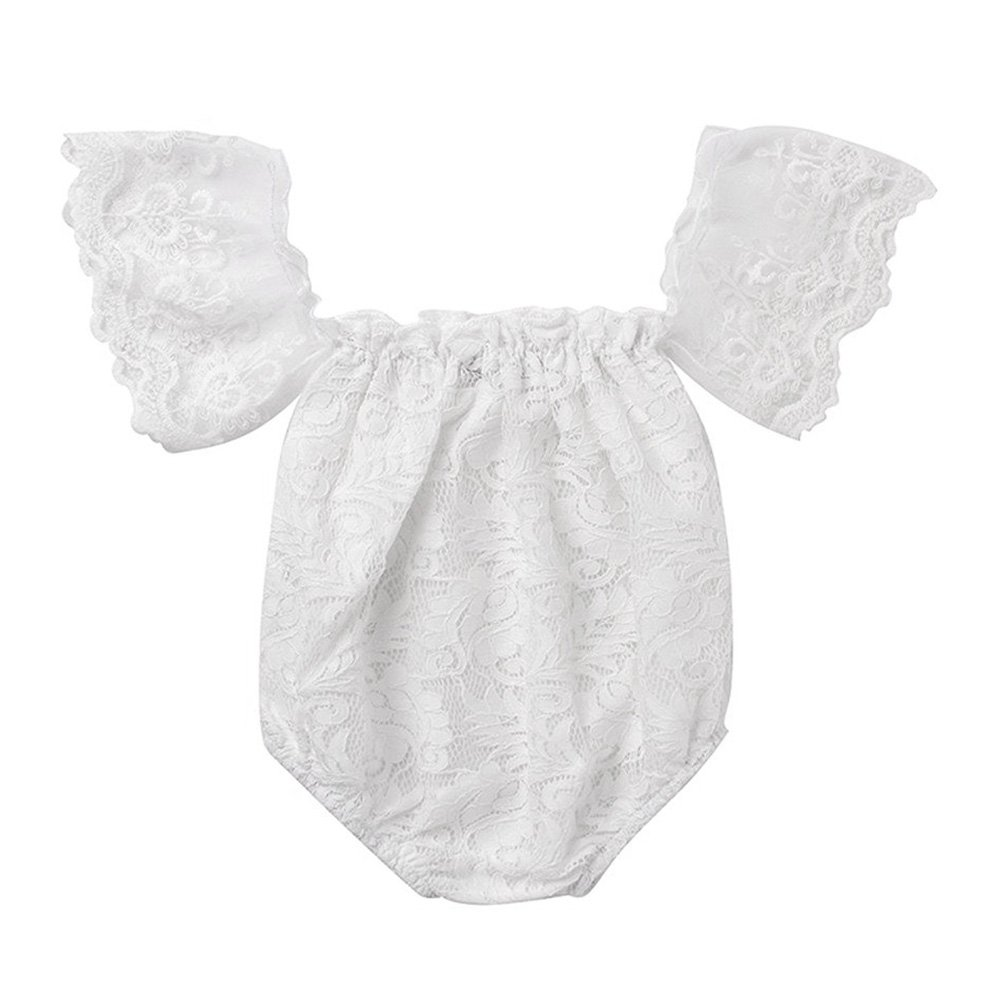GRNSHTS Infant Baby Girls White Hollow Ruffles Sleeve Lace Romper Sunsuit Bodysuit 30287