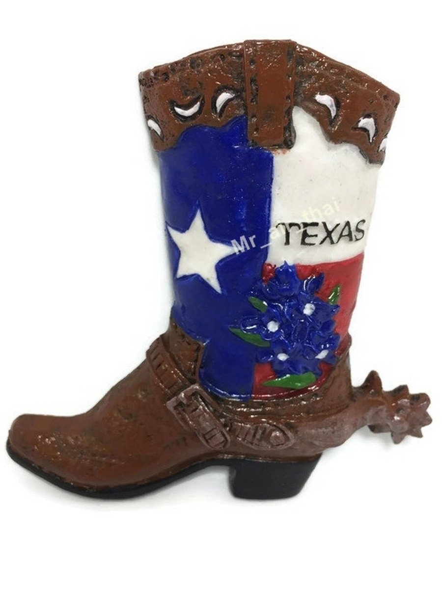 Texas Cowboy Boot United States Souvenir Collection 3D Fridge Refrigerator Magnet Hand Made Resin