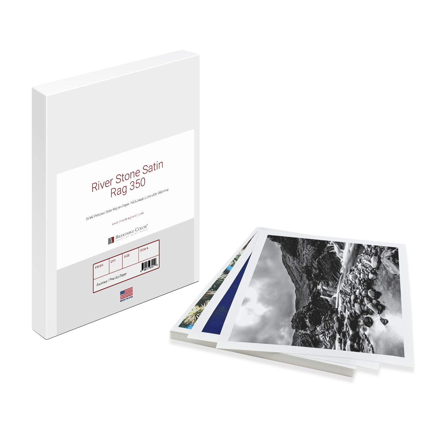 Premium River Stone Satin Rag Paper Perfect For Use on Professional Makes and Models of Epson, Canon and HP printers preferred by Professionals. 350 gram Satin Art Paper in 13 inch x 19 inch 25 sheets