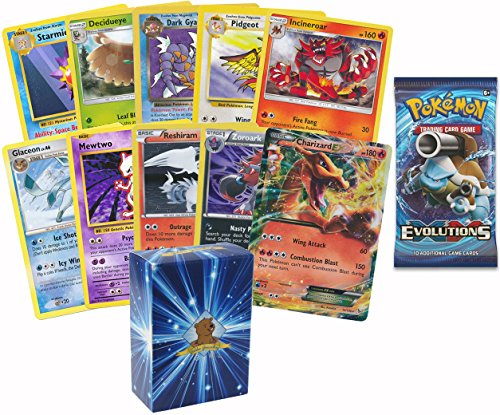 10 All Rare Pokemon Cards with Ex and Booster Pack, Includes Golden Groundhog Box (Pokemon Ex Golden Cards)