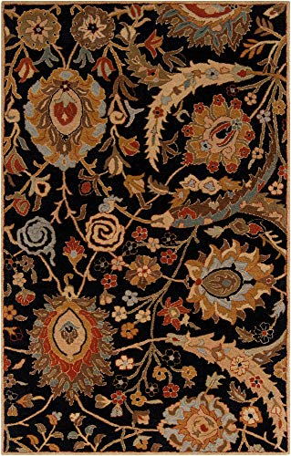 - Surya Ancient Treasures A-154 Classic Hand Tufted 100% Semi-Worsted New Zealand Wool Coal Black 2' x 3' Traditional Accent Rug