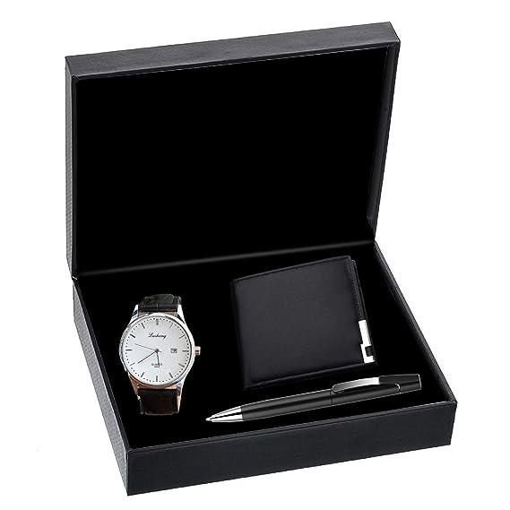 Hombres Relojes kuxien Hombre Set De Regalo Con Reloj de pulsera, Cartera y firma lápiz para San Valentín, Navidad, aniversario regalo: Amazon.es: Relojes