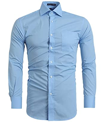 92c3076a FLY HAWK Mens Cotton Blend Casual Button Up Slim Fit Collared Formal Shirts,  Light Blue
